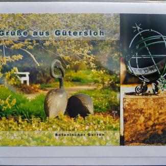 Grußkarte Botanischer Garten Gütersloh Uwe Minuth Flamingos Sonnenuhr