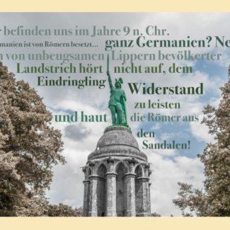 Grußkarte Hermannsdenkmal Ganz Germanien? Nein!
