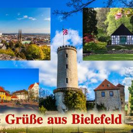 Postkarte Bielefeld Sparrenburg Bürgerwache Botanischer Garten