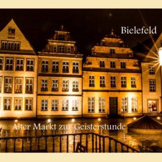 Postkarte Bielefeld Alter Markt bei Nacht