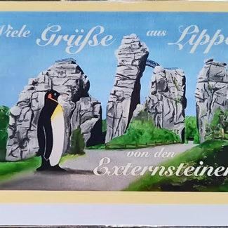Postkarte Externsteine mit Pinguin