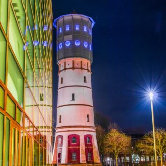 Postkarte Gütersloh Wasserturm bei Nacht