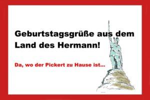 Glückwunschkarte Hermannsdenkmal Land des Hermann