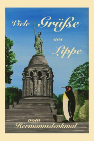 Postkarte Hermannsdenkmal Pinguin