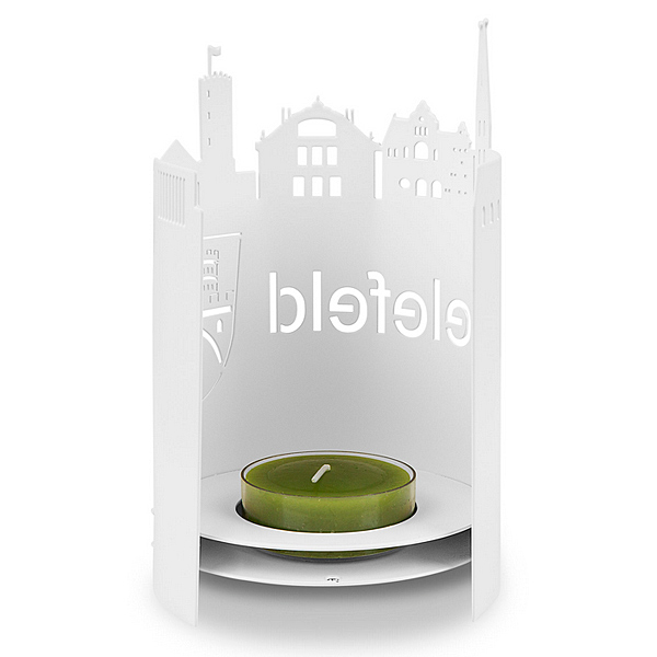 Bielefelder Skyline Windlicht weiß