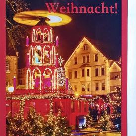 Weihnachtskarte Weihnachtspyramide Gütersloh hochkant
