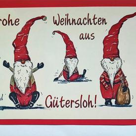Weihnachtskarte Gütersloh Weihnachtswichtel Trio