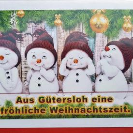 Weihnachtskarte Schneemänner Gütersloh